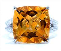 10.33 cttw Citrine & Diamond Ring