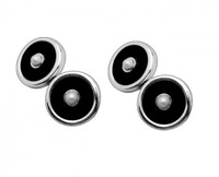 Thistle & Bee Silver Freshwater Pearl & Onyx Cufflinks