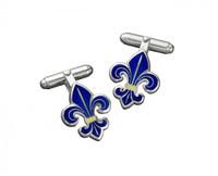 Thistle & Bee Silver Fleur de Lis Enamel Cufflinks