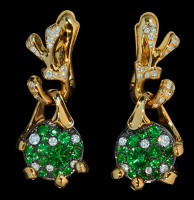 "Mousson Atelier Cosmos Collection ""UFO"" Tsavorite & Diamond Earrings E0038-0/6"