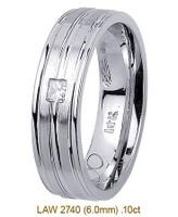 Men's Diamond Wedding Band 14K:White LAW2740M