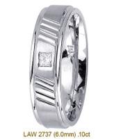 Men's Diamond Wedding Band 14K:White LAW2737M