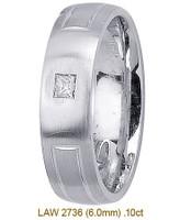 Men's Diamond Wedding Band 14K:White LAW2736M