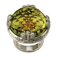 Lemon Quartz & 1.20 ct Diamond Ring
