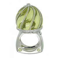 Lemon Quartz & .79 ct Diamond Ring