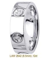 Men's Diamond Wedding Band 14K:White LAW2642M