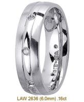 Men's Diamond Wedding Band 14K:White LAW2636M