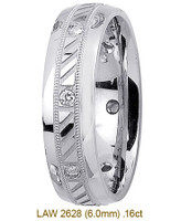 Men's Diamond Wedding Band 14K:White LAW2628M
