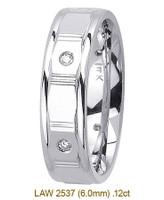 Men's Diamond Wedding Band 14K:White LAW2537M