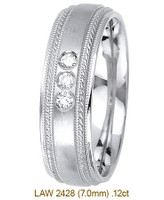 Men's Diamond Wedding Band 14K:White LAW2428M
