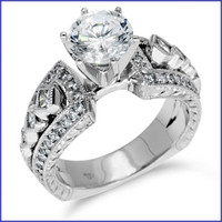 Gregorio 18K White Engagement Diamond Ring R-351