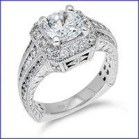 Gregorio 18K White Engagement Diamond Ring R-350