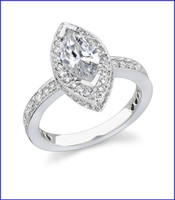 Gregorio 18K White Engagement Diamond Ring R-349