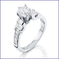 Gregorio 18K White Diamond Engagement Ring R-5482