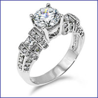 Gregorio 18K White Diamond Engagement Ring R-5336