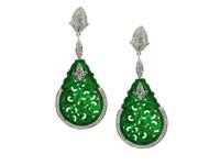 Green Jade & 1.16 ct Diamond Earring