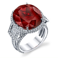 Garnet & 1.85 ct Diamond Ring