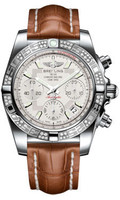 Breitling Chronomat 41 Steel Dia Bezel Croco Strap Deployant AB0140AA/G711