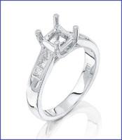 Gregorio 18K White Diamond Engagement Ring R-5029