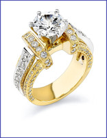 Gregorio 18K 2 Tone Engagement Ring R-332N