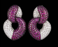 Gayubo Ruby & Diamond Pave Earrings 8398/R