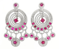 Gayubo 18K WG Ruby & Diamond Earrings 8928/R