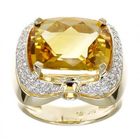 Citrine & .55 ct Diamond Ring
