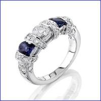 Gregorio 18K WG Diamond & Sapphire Wedding Band R-1833B
