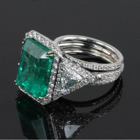 Emerald & 3.50 ct Diamond Ring