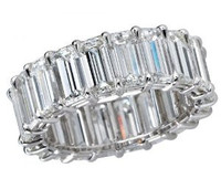 7 Carat F-G/VS2 Emerald Cut Diamond Eternity Band In Platinum