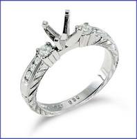 Gregorio 18K White Engagement Diamond Ring R-235
