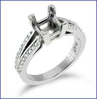 Gregorio 18K White Engagement Diamond Ring R-7089