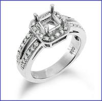 Gregorio 18K White Engagement Diamond Ring R-7066