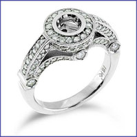 Gregorio 18K White Engagement Diamond Ring R-6402
