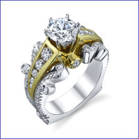 Gregorio 18K 2Tone Diamond Engagement Ring R-519