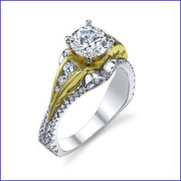 Gregorio 18K 2Tone Diamond Engagement Ring R-518