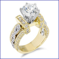Gregorio 18K 2 Tone Gold Diamond Engagement Ring R-332-3
