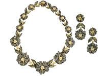 Flower-Shaped Diamond Earring & Necklace Set
