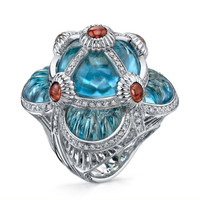 Blue Topaz & 1.35 ct Diamond Ring