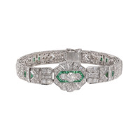 11 Carat Diamond & Emerald Art Deco Bracelet