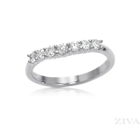 Ziva Curved Wedding Band with Diamonds