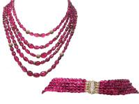 Tourmaline & 6.65 ct Diamond 5 Row Necklace