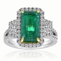 4.27ct Emerald & Diamond Three-stone Ring
