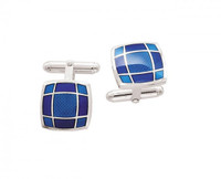Thistle & Bee Silver Square Geometric Enamel Cufflinks