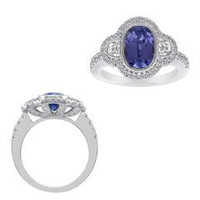 18k WG Tanzanite & Diamond Ring (rd 0.55ct, Hm 0.24ct, Tz 2.58ct)
