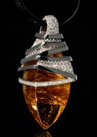 """Mousson Atelier Wind Collection """"Zephyr"""" Gold Rutile Quartz & Diamond Pendant P0036-0/1"""