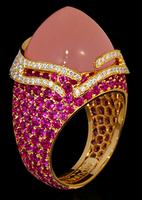 "Mousson Atelier New Age ""Fuji"" Gold Pink Quartz & Sapphire Ring R0053-0/2"