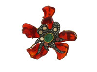 Opal, Emerald & .67 ct Diamond Flower-Shaped Brooch