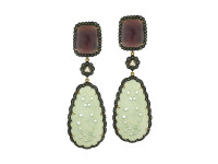 Onyx, Ruby & 2.58 ct Diamond Earring