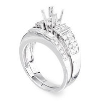1.32 Ctw Pave Two Piece Diamond Engagement Ring Set